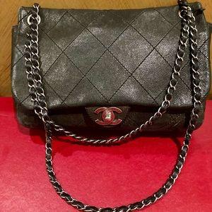 Chanel Distressed Caviar CC Shoulder Flap Bag